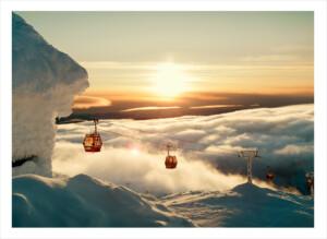 Åreskutans kabinbana i solnedgång