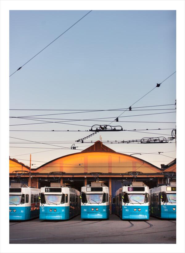 Parkerade spårvagnar uppradade i Göteborg