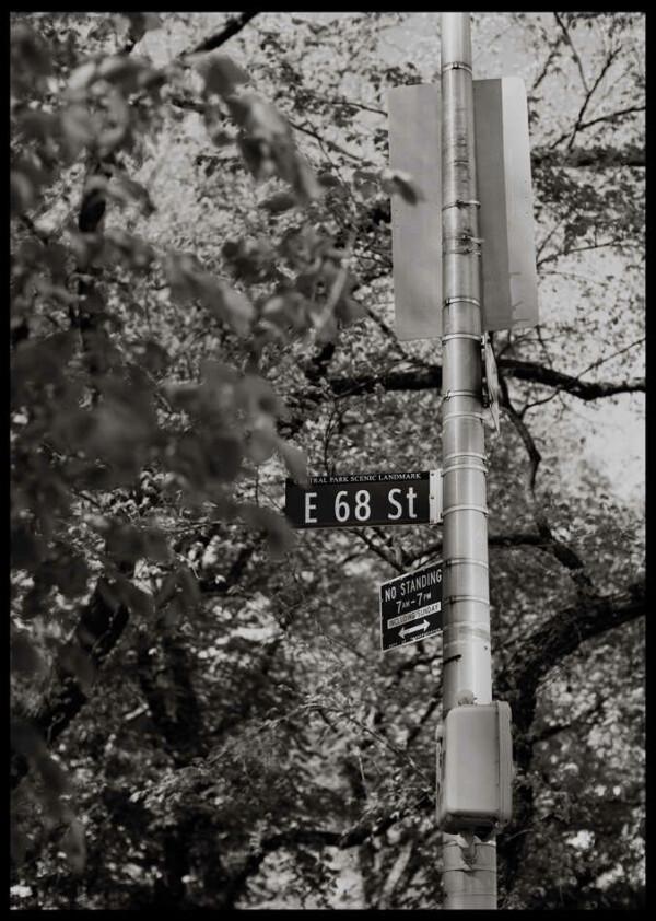 new york vägskylt med svart ram