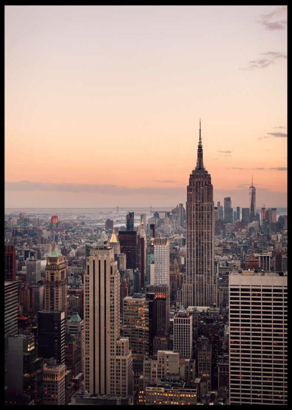 Skyskrapa i new york poster inramad med svart ram