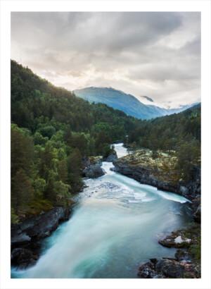 Norsk fjord med grönska runtom