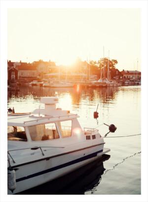 Öregrunds hamn i solnedgång