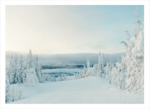 Ett fjäll med massor av snö mitt på dagen