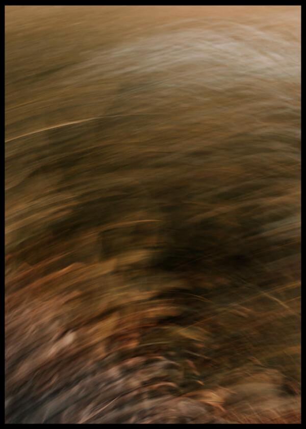 Inramad med svart ram en poster av brun färg i oskärpa