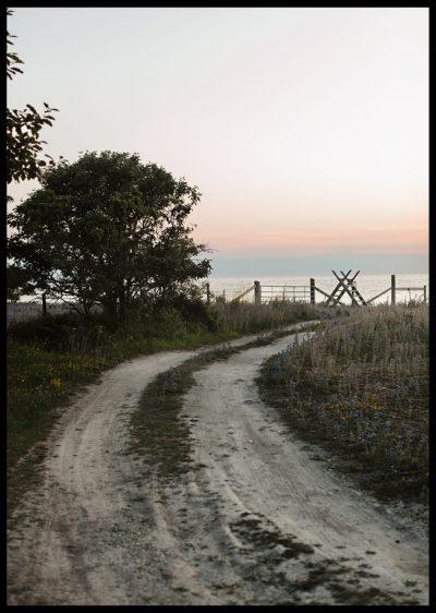 Inramad poster med svart ram på en skogsväg mot havet